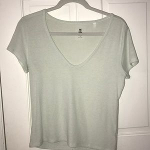 Pastel green scoop neck top